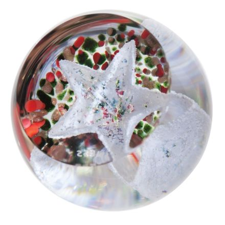 Christmas Frostings Star Glass paperweight / Ornament, 50mm | James Pirie
