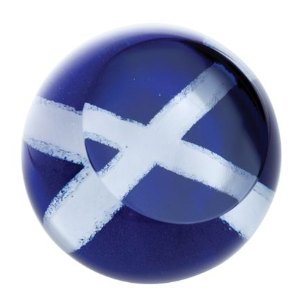 Scottish Saltire Glass paperweight (The Flag of Scotland) 80mm | James Pirie