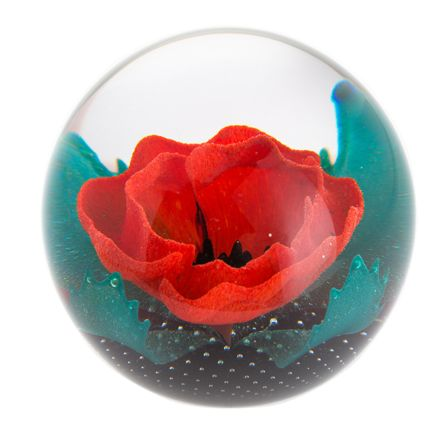 Remembrance - Remembering Glass Paperweight (Poppy) - 85mm | James Pirie