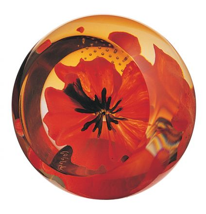 Floral Charms Red Poppy glass paperweight, 65mm | James Pirie