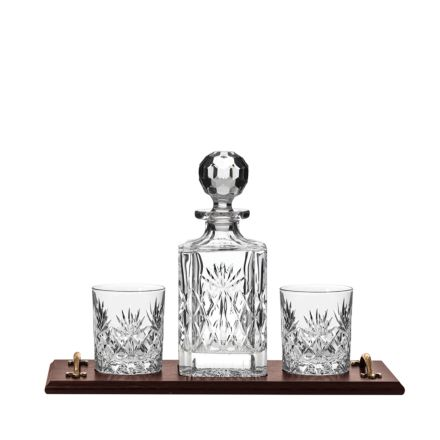 Kintyre Whisky Tray (Solid Oak) with Kintyre Square Spirit and 2 Large Crystal Tumblers - (Gift Boxed) | Royal Scot Crystal